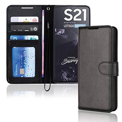 TECHGEAR Custodia in Pelle Galaxy S21, Cover Libro Protettiva con Slot per Schede, Supporto e Cinturino da Polso - Pelle Sintetica per Samsung Galaxy S21 5G Cover Portafoglio (Nero)