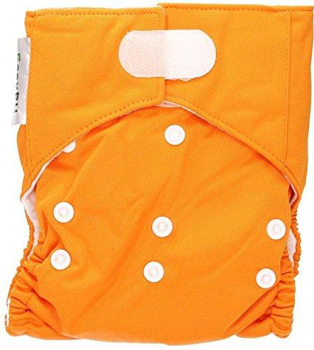 EASY PU - Pannolino Lavabile Arancione - Si adatta alla crescita del tuo bambino da 0 a 3 anni - Economico - Sicuro - Ecologico - Dermatologicamente testato