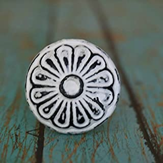MarktSq Set of 4 Round Metal Cabinet Knobs With Floral Pattern in Distressed White
