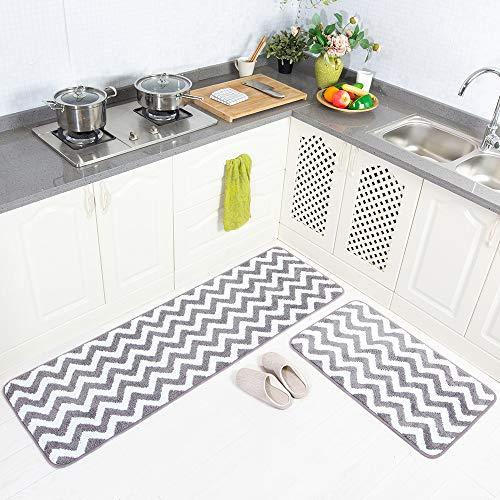 2 Piece Microfiber Non-Slip Kitchen Mat Rubber Backing Doormat Runner Rug Set