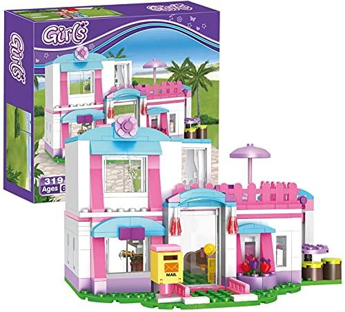 Bloques de construcción de casas Juguetes de construcción de villas de playa Juguetes educativos Juguetes de Navidad Regalos de cumpleaños para niños de 6 años en adelante, 319 piezas