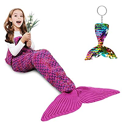 AmyHomie Mermaid Tail Blanket, Mermaid Blanket Adult Mermaid Tail Blanket, Crotchet Kids Mermaid Tail Blanket for Girls (Rainbow, Kids)