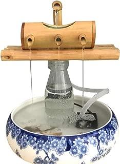 wang JESS Home Fountain Pump, Fish Tank Circulation Three-Arm Style Base Bamboo Tube Mini Desktop Decoration for Indoor/Outdoor, Aquarium, Home, Office