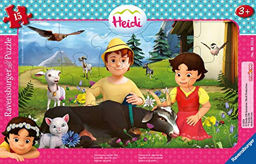 Ravensburger Kinderpuzzle - 05071 Gemeinsam auf der Alm - Heidi Rahmenpuzzle für Kinder ab 3 Jahren, mit 15 Teilen