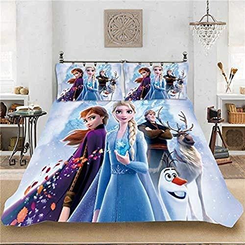 Ropa de Cama, Funda de edredón de Microfibra Impresa en 3D, Funda de Almohada, Princesa de la Nieve de Disney, Funda de edredón con patrón de Dibujos Animados para niños y niñas, Adulto