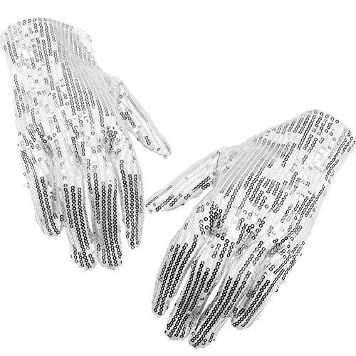 German Trendseller® 2X Pailletten Handschuh - Deluxe ┃ Accessoire ┃ Silber ┃ Michael Jackson ┃ Karneval - Party ┃2X Premium Handschuh