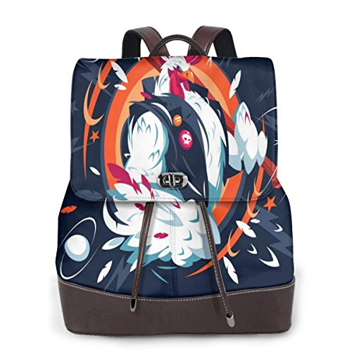 Womens Leather Backpack Cartoon Cool Rooster Funny Animal Shoulder Bookbag Casual Bag Ladies