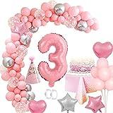 MMTX Geburtstagsdeko Mädchen 3 Jahr, Rosa 40'Zahlen Luftballon 3Geburtstag Mädchen Kindergeburtstag Dekoration mit Happy Birthday Girlande Folienballons Torten Topper Tischdecke für Baby Shower Deko
