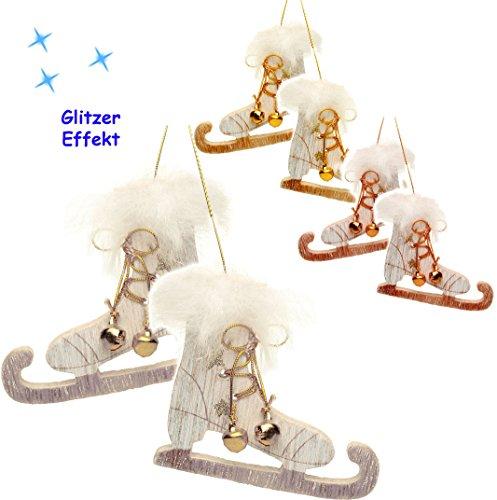alles-meine.de GmbH 3 Paare _  Schlittschuhe mit Glitzer & Kunstfell & Glöckchen - FARB-Mix  - aus Holz - 8 cm - Miniatur / Diorama - Anhänger - Weihnachtsdeko / Winter - Winte..