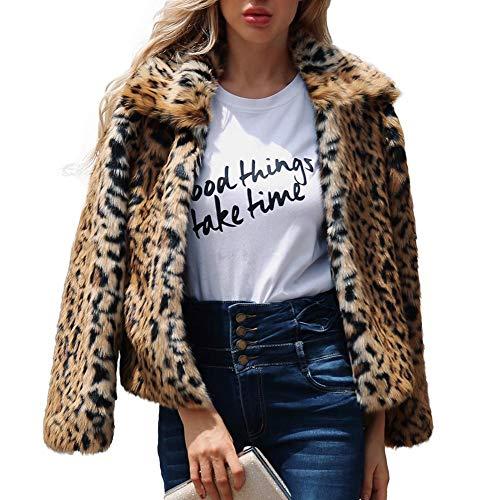 Fancylande Mujeres Chaqueta Mujeres Abrigo Forro Chaleco Mme la Mode código de Oro Manga Larga Solapa Pelo sintético Abrigo Leopardo, Leopardo, X-Large