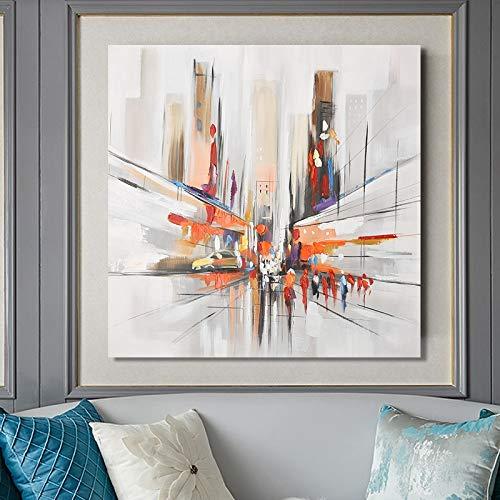YuanMinglu Modernes abstraktes Ölgemälde auf der Leinwand Wandkunst Poster Aquarelldruck Street View Dekoration Wohnzimmer Dekoration rahmenlose Malerei 40x40cm