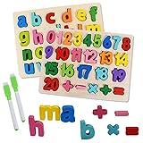 Juguetes Montessori Puzzles Infantiles 3 4 5 6 Anos, 2 Piezas Alfabeto y Números Rompecabezas ABC Tablero de Rompecabezas Aprendizaje Regalo Juguete Educativo para Niños (B)