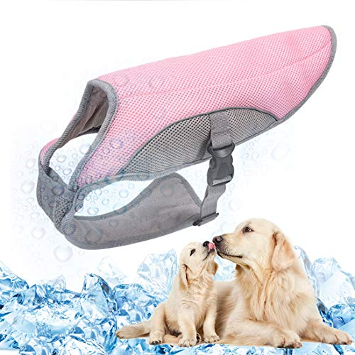TVMALL Dog Cooling Vest Breathable Mesh Dog Jacket Summer Cool and Comfortable Dog Coat Adjustable with Reflective Strip Pet Clothes Suitable for Large Medium and Small Dogs (Pink,L)