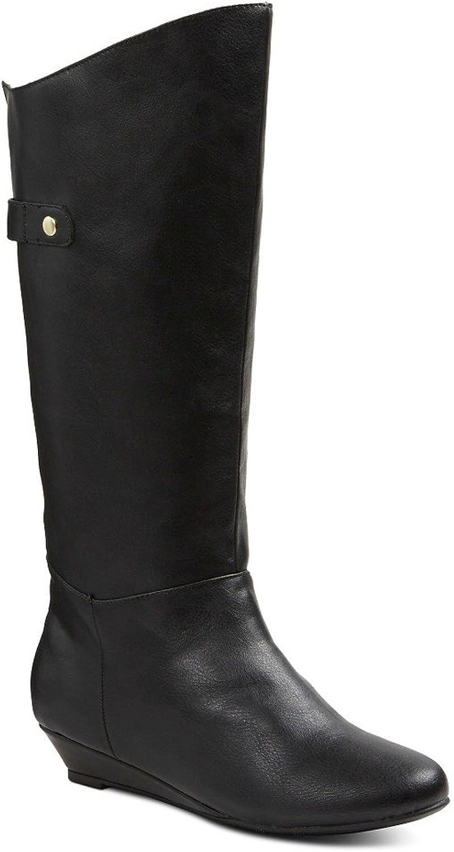 Merona Boot Wedge Heel Black Nalan