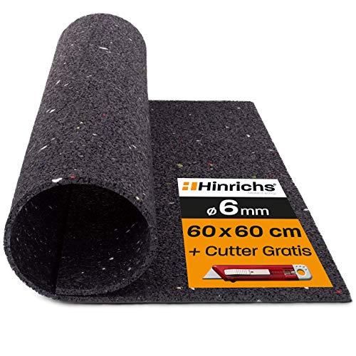 Hinrichs Alfombra Antivibración para Lavadoras - Alfombra Antideslizante de 60 x 60 x 0,6 cm - Alfombra de Goma con póster Gratuito