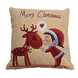 Fundas de Almohada Elk de Navidad Fundas de cojín Cuadrado Throw Pillow Cubre Home Sofa Car Decoration 45x45cm