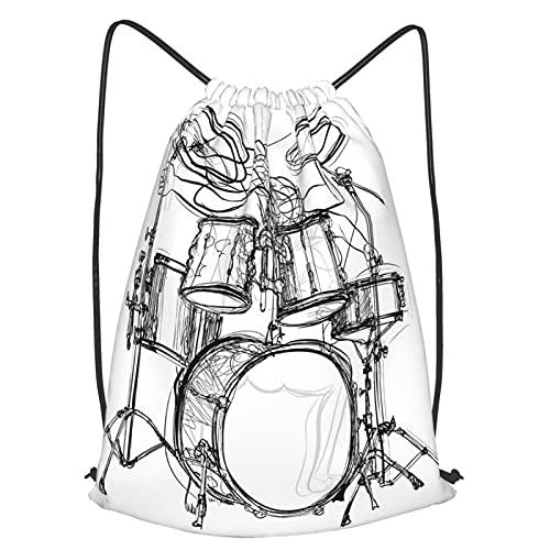 AndrewTop Kordelzug Beutel Unisex Turnbeutel,Doodle Drawing Sketch Style Schlagzeuger Musical Inspirations Monochrome Arrangement,Kordelzugbeutel Sport Outdoor Reisen Rucksack