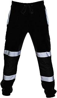 Mens Hi Viz Work Trouser with Ballistic Nylon Patches Tough Trade Refuse Pants