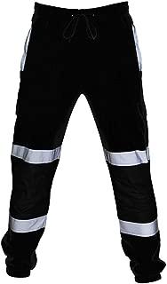 Men's Hi Vis Viz Reflective Overalls High Visibility Safe Work Pants Sweatpants Joggers Trousers Windproof Cargo Pants