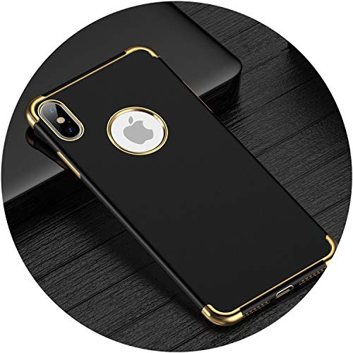 Business Soft Phone Case Cover for iPhone Xs Max XR X 7 6 6S Plus Luxury Electroplated Silicone Cases Cover,Black Gold,for iPhone 6 6s