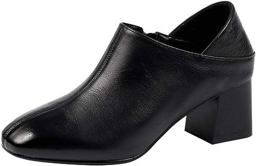 AJUNR Femmes Loisirs Les Femmes Au Printemps 5.5Cm Chaussures en Cuir Les Talons Hauts Cuir Chaussures