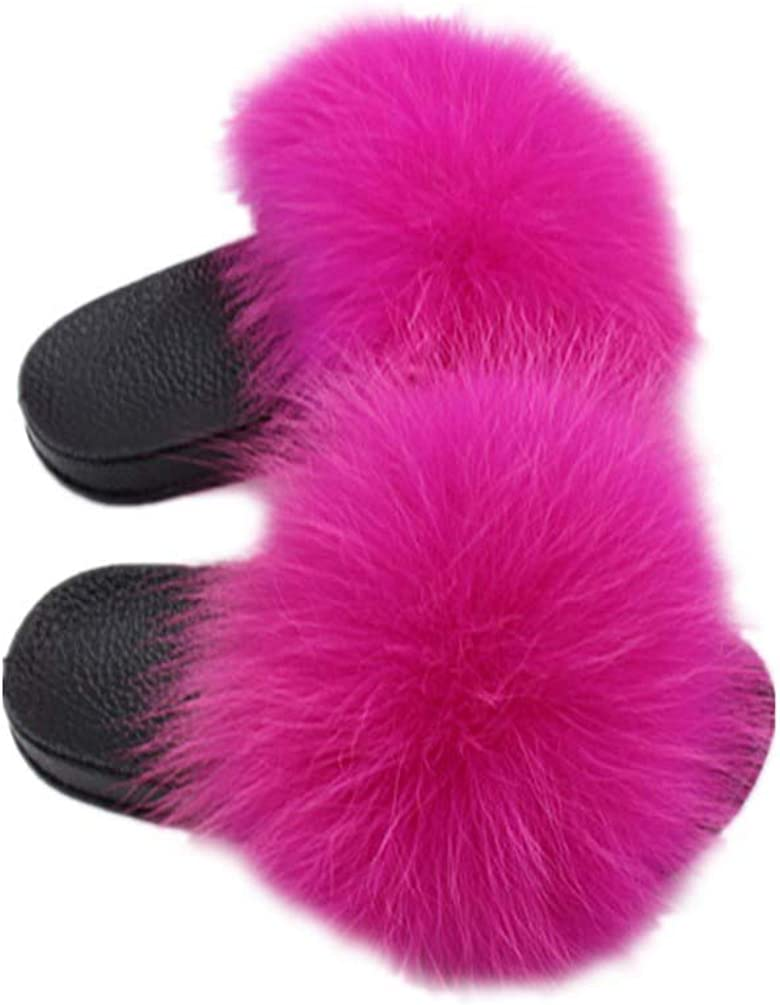 LVCOMEFF Girls real fox fur sandals for slides kid Special price fuzzy fluffy Manufacturer OFFicial shop