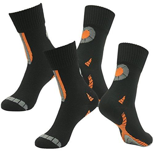 RANDY SUN 100% Waterproof Socks, Unisex Breathable Hiking/Trekking/Ski/Running/Cycling Outdoor Multisport Socks 3-Layer Construction(2 Pairs Midcalf Black S)