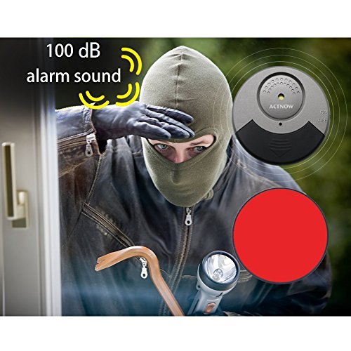 Actnow超薄型ウインドウアラーム100dB大音量ドア窓振動&衝撃検知6個入