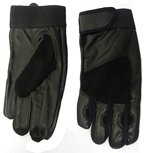 Neuf pour homme tendance Demi Cuir Tissu Air en maille stretch souple réglable Gants - Noir - Taille Unique