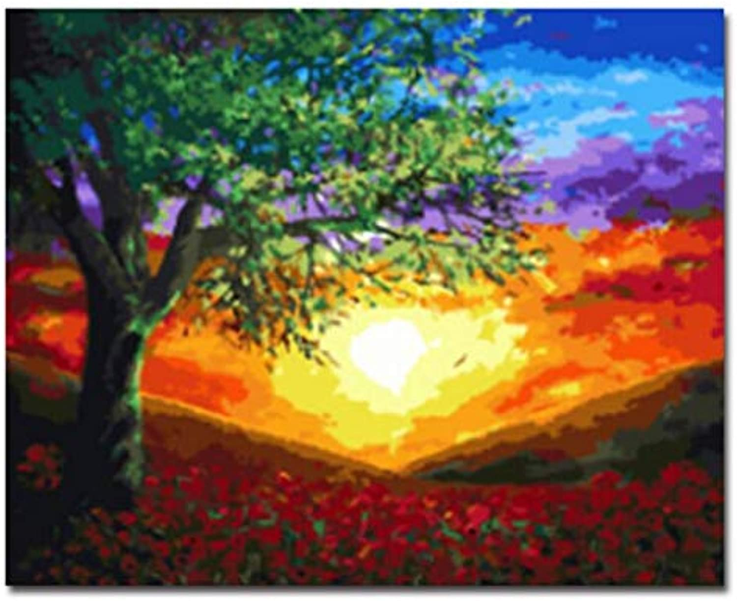 CAYYOU DIY ramed Landscape Picture Oil Painting By Numbers Painting&Calligraphy Home Decor Wall Art, Framed, 50x60cm