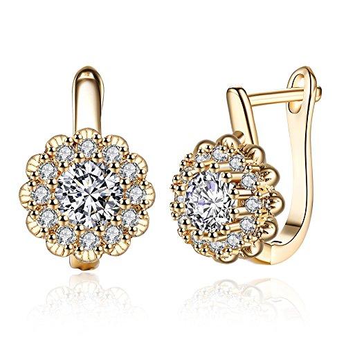 YAZILIND elegante joyer¨ªa brillante champ¨¢n oro chapado en forma de flor con blanco cubic zirconia aro dise?o aretes para mujeres
