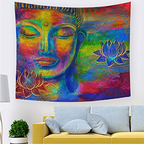 Buddha Tapestry Asian Buddhism Decorations Tapestry Buddha Head Statue Wall Hanging Tapestries for Bedroom Living Room Home Decor (04,39.3× 27.5 inches)