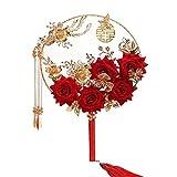 GDYX Abanico plegable Suministros de boda Ventilador clásico chino Borla Patrón de doble cara Ventilador decorativo, Suministros de boda1