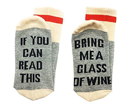 GZHOUSE Neuheit Socken, wenn Sie dies lesen können, bringen Sie mir einen Wein Kaffee Bier Baumwollsocken Männer Frauen funky Strumpfhosen für Party Geburtstage Mutter oder Vater Geschenk