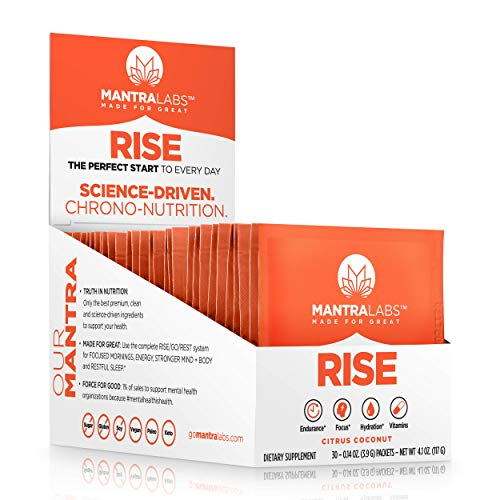 Rise Hydration Drink Powder by MANTRA Labs – Nootropic Hydration Powder Packets with Vitamins & Antioxidants. Focus, Energy, 0 Caffeine. Perfect for a Keto and Paleo Diet. (Citrus Coconut – 30 Pk)