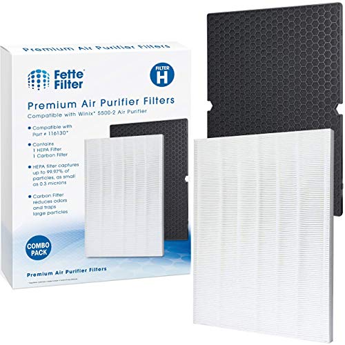 Fette Filter - Premium Air Purifier Replacement Filter Set Compatible with Winix 116130 Filter H for Model # 5500-2 Air Purifier Contains 1 HEPA Filter with 1 Activated Carbon Filter