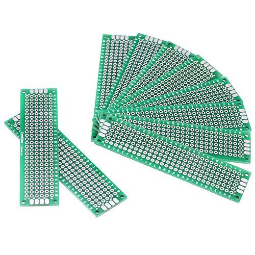 Placa de prototipos de 10 piezas, placa de rejilla lateral doble de 2 cm × 8 cm Placa de circuito PCB DIY soldadura proyecto electrónico accesorios