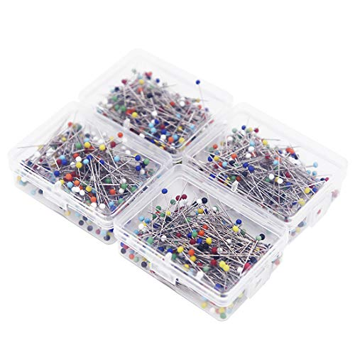 EuTengHao 1000 Pieces Sewing Pins,1.5 Inch Multi-Color Glass Ball Head Pins, Straight Quilting Pins, Drawing Pin with Transparent Box for Dressmaking, Jewelry DIY Design (8 Colors, 38mm)