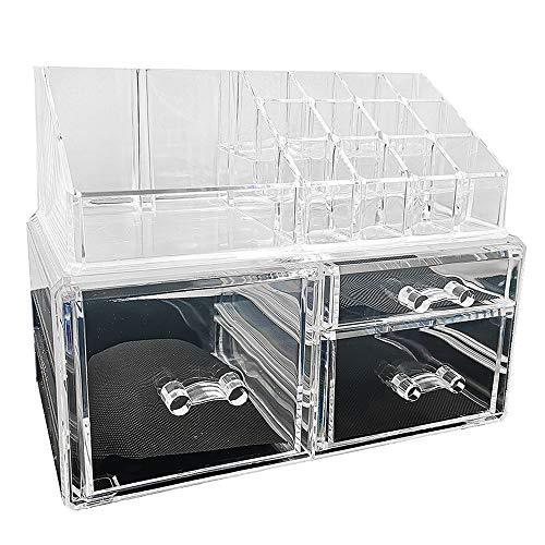 Organisateur de Cosmétiques de Bureau, Boîte de Rangement en Acrylique Transparente Empilable pour Bijoux, Boîte de Rangement pour Plateau a Cosmétiques de Type Tiroir de Grande Capacité-transparent