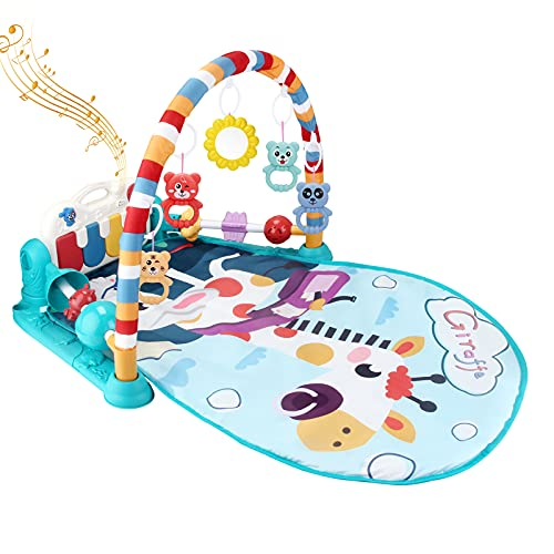 Baby Gym Play Mat Tummy Time Mat Kick and Play Piano Gym Activity Center for Baby Upgrade Guardrail Infant Toys 5 Hanging Toys 2.8 Ft Length Playmat Baby Gifts 0, 3, 6, 9 12 Months (Blue)