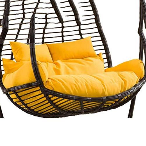 Cojín de silla de columpio doble grande, cojín de silla de hamaca de huevo para colgar en el patio sin soporte Cojín de asiento de cesta colgante grueso para cojín de silla de interior al aire li