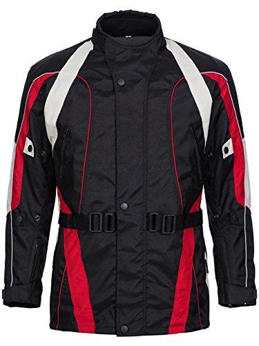 Limitless Herren Motorradjacke mit Protektoren und Reflektoren - Motorrad Jacke Cordura Textil - wasserdicht Winddicht Schwarz Rot Weiß Grau 788 Gr. M