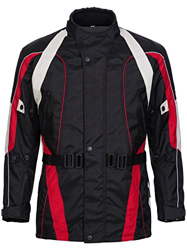 Limitless Herren Motorradjacke mit Protektoren und Reflektoren - Motorrad Jacke Cordura Textil - wasserdicht Winddicht Schwarz Rot Weiß Grau 788 Gr. 3XL