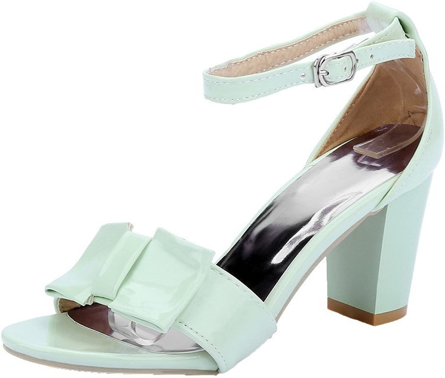 WeiPoot Women's Solid Patent Leather High-Heels Buckle Open-Toe Sandals