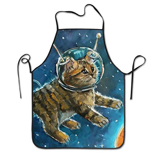Delantal de gato astronauta cosido delantal de flores impreso delantal para