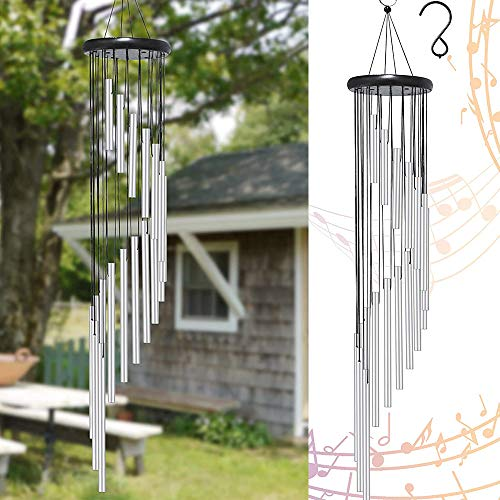 hanlin Wind Chimes Outdoor,Large Wind Chimes,36' Garden Chimes with 18 Aluminum Alloy Tubes and 3 S Hooks for Garden Patio Backyard Decor Gift etc (Silver)