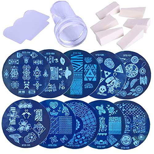 1set Nail Art Stamping Timbre image Modèles Stamper Scraper Kit manucure 10 plaques série avec Stamper et grattoir pour le bricolage Nail Art