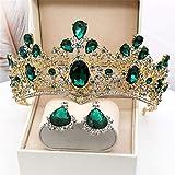 LIUzyuang Joyas de Pelo Diadema de la Diadema de la Diadema de la Diadema de la Diadema para Las niñas de Las Mujeres para Las niñas de la Corona del Barroco (Color : Green, Size : Crown+Ear Clip)