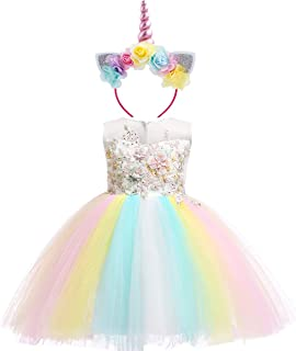 Baby Girls Flower Fairy Costume Princess Rainbow Dress up Birthday Pageant Party Wedding Dance Outfits Short Gown