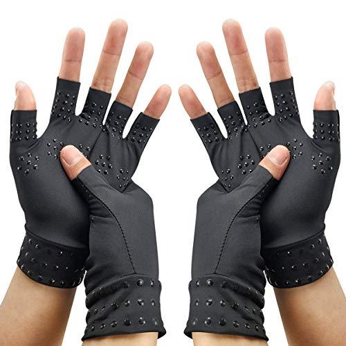 RHome - Guantes de compresión de cobre para artritis, 2 pares, guantes de medio dedo, guantes antiestáticos, para aliviar el dolor de articulaciones,